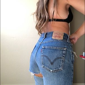 Levi's 501 Vintage Denim with bottom rip